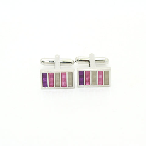 Silvertone Lavender Stripe Cuff Links With Jewelry Box
