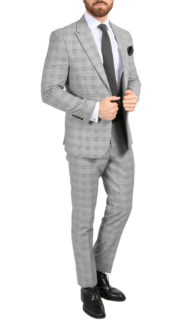 Ferrecci Men's Conrad Skinny Slim Fit Grey 2 Piece Glen Plaid Peak Lapel Suit - Ferrecci USA