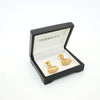Goldtone Oval Crystal Gemstone Cuff Links With Jewelry Box