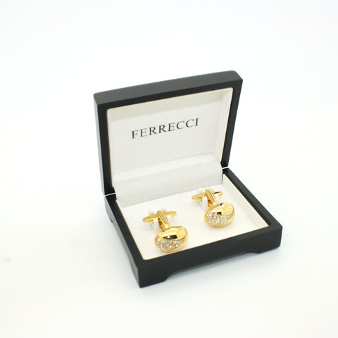 Goldtone Gemstone Cuff Links With Jewelry Box