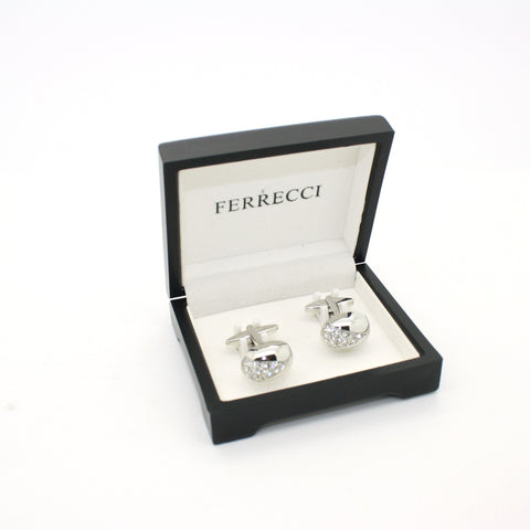Silvertone Gemstone Cuff Links With Jewelry Box