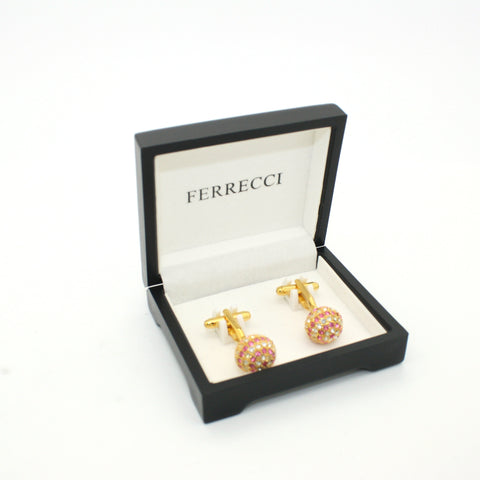 Goldtone Pink Gemstone Cuff Links With Jewelry Box
