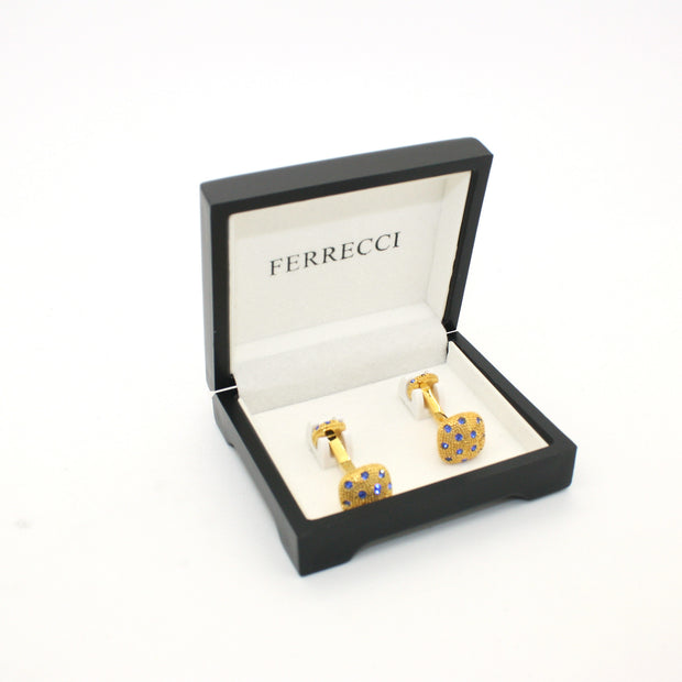 Goldtone Blue Gemstone Metal Cuff Links With Jewelry Box