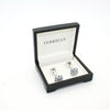 Silvertone Blue Gemstone Metal Cuff Links With Jewelry Box