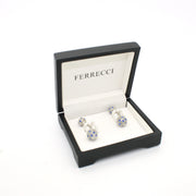 Silvertone Ball Gemstone Cuff Links With Jewelry Box