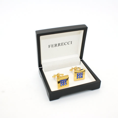Goldtone Blue Gemstone Cuff Links With Jewelry Box