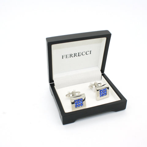 Silvertone Blue Gemstone Cuff Links With Jewelry Box
