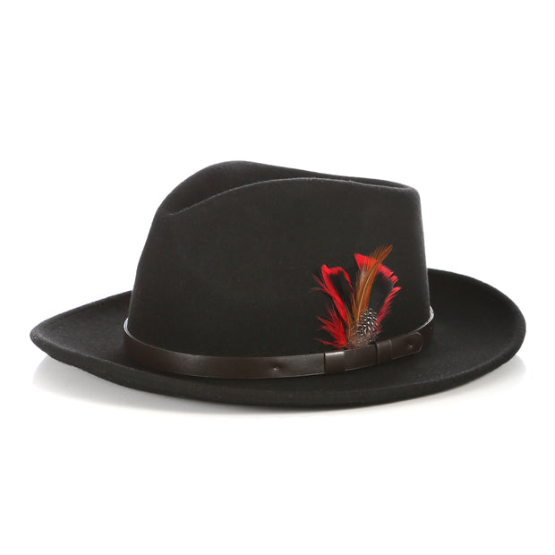 Crushable Black Fedora Hat with Leather Band - Ferrecci USA