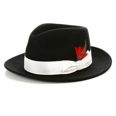 Crushable Fedora Hat in Black With White Band