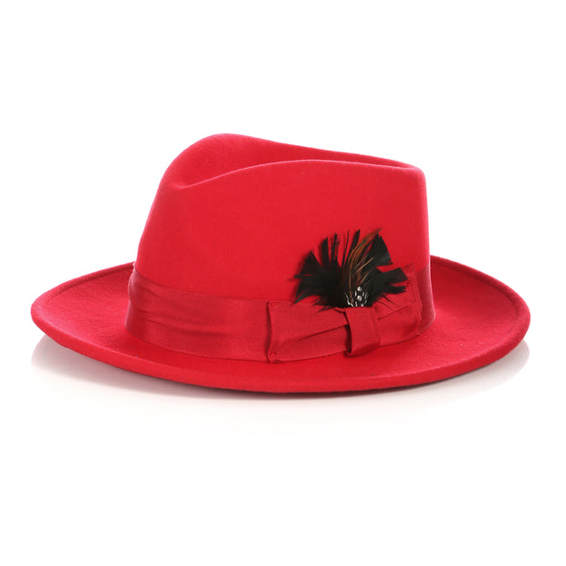 Crushable Red Fedora Hat - Ferrecci USA