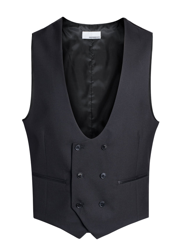 Cruz Mens Double Breasted Black Vest - Ferrecci USA