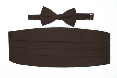 Satine Brown Bow Tie & Cummerbund Set
