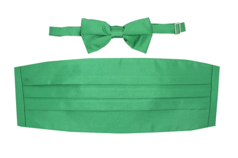 Satine Green Bow Tie & Cummerbund Set