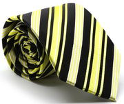 Mens Dads Classic Black Striped Pattern Business Casual Necktie & Hanky Set D-3 - Ferrecci USA