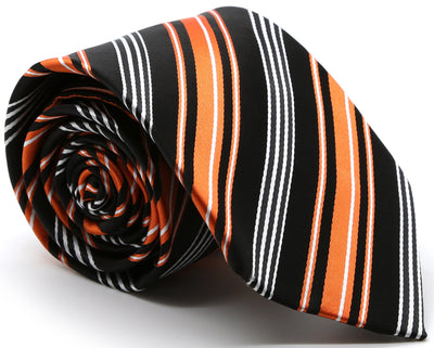 Mens Dads Classic Black Orange Striped Pattern Business Casual Necktie & Hanky Set D-4 - Ferrecci USA
