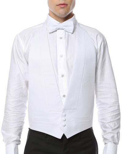 Premium White Pique Cotton Backless Formal Vest & Bow tie