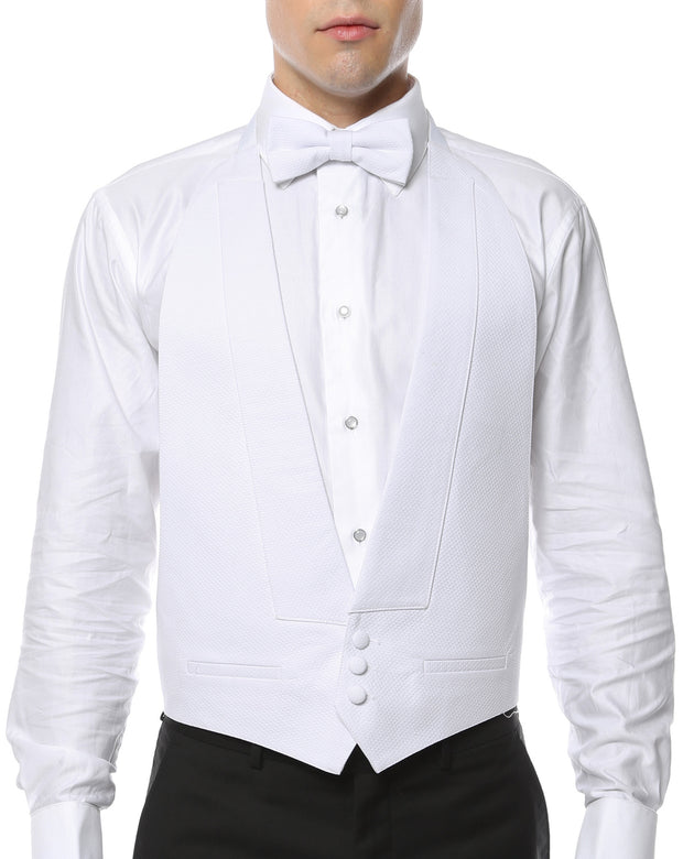 Premium White Pique 100% Cotton Backless Tuxedo Vest & Bow Tie / 2XL FIT ALL (50-60) - Ferrecci USA