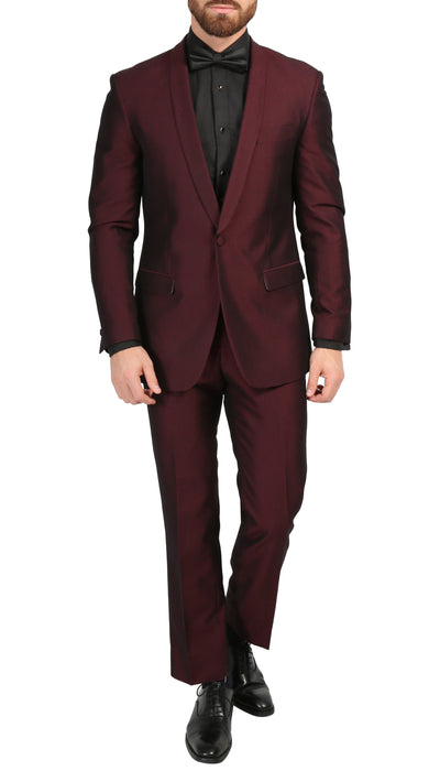 Mens Daxson Burgundy Slim Fit Shawl Collar 3pc Tuxedo
