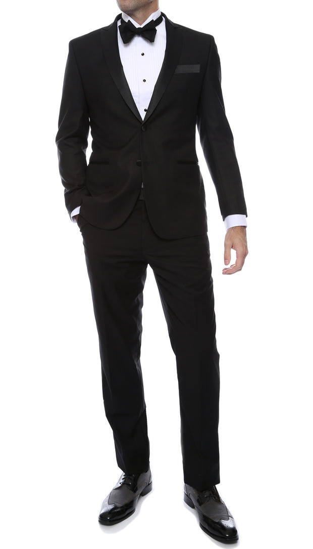 Debonair Black Slim Fit Peak Lapel 2 Piece Tuxedo Suit Set - Tux Blazer and Pants