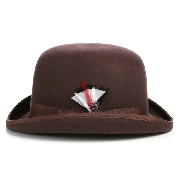 Premium Wool Chocolate Brown Derby Bowler Hat - Ferrecci USA