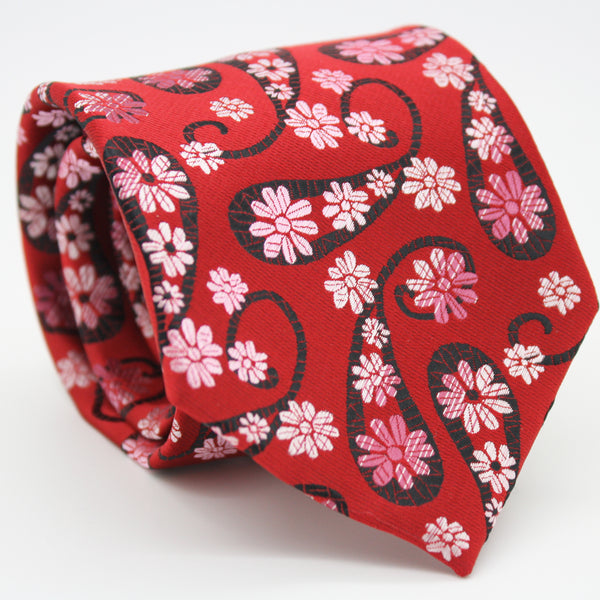 Mens Dads Classic Red Floral Pattern Business Casual Necktie & Hanky Set DF-4