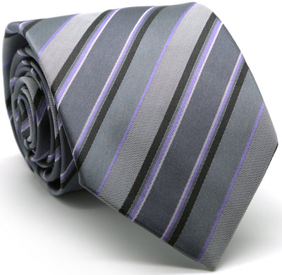 Mens Dads Classic Grey Striped Pattern Business Casual Necktie & Hanky Set DO-4 - Ferrecci USA