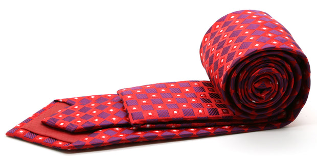 Mens Dads Classic Red Geometric Pattern Business Casual Necktie & Hanky Set E-10 - Ferrecci USA