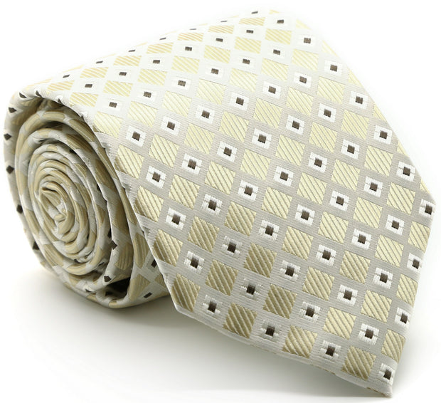 Mens Dads Classic Beige Geometric Pattern Business Casual Necktie & Hanky Set E-2 - Ferrecci USA