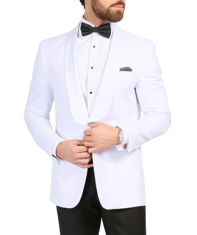 Ferrecci Men's Echo White Slim Fit Shawl Lapel Tuxedo Dinner Jacket