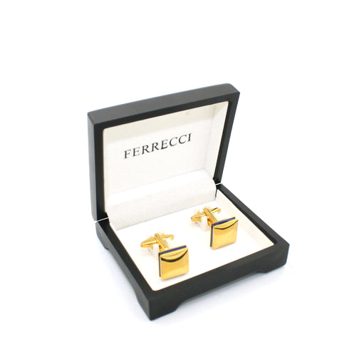 Goldtone Blue Lining Cuff Links With Jewelry Box