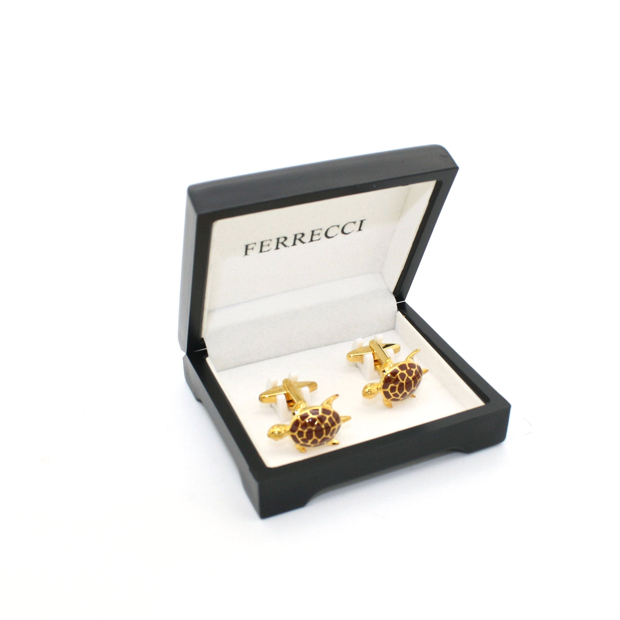 Goldtone Turtle Cuff Links With Jewelry Box