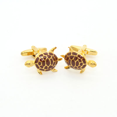 Goldtone Turtle Cuff Links With Jewelry Box - Ferrecci USA