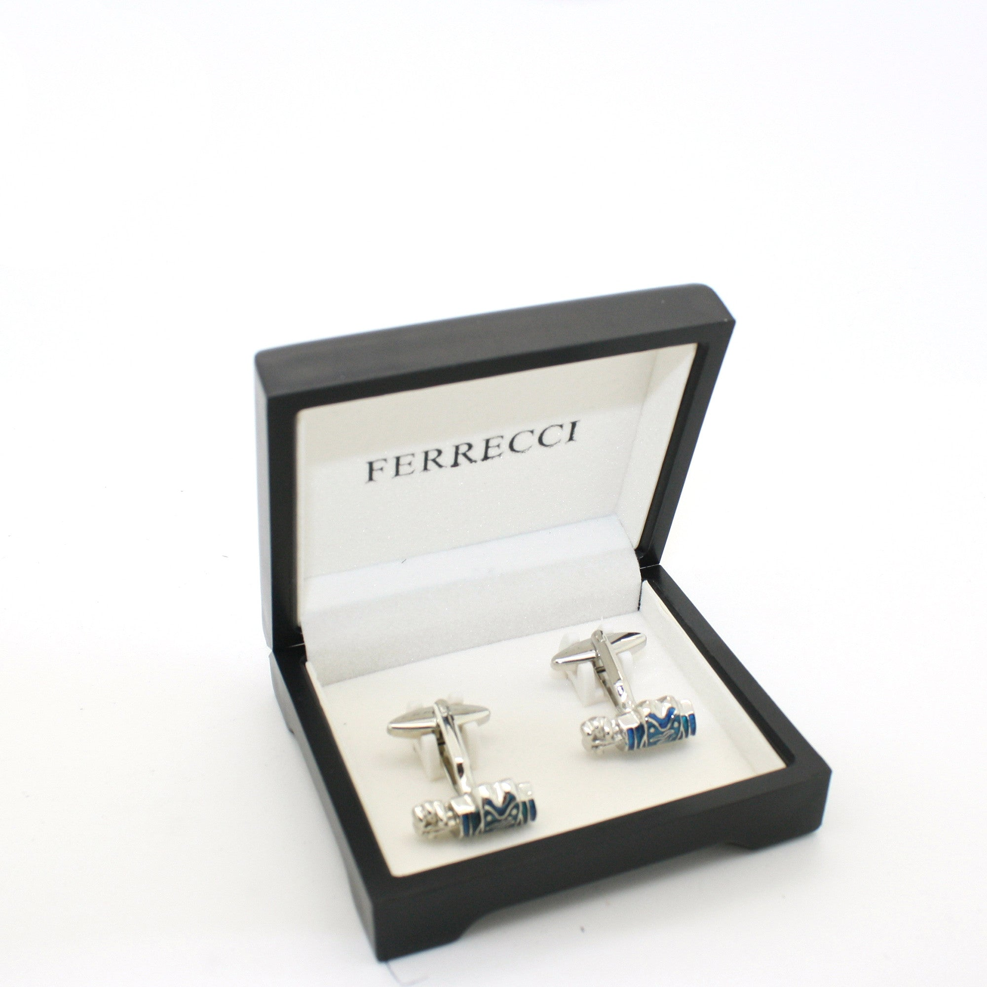 Silvertone Blue Wave Cuff Links With Jewelry Box
