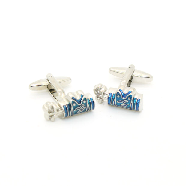 Silvertone Blue Wave Cuff Links With Jewelry Box - Ferrecci USA