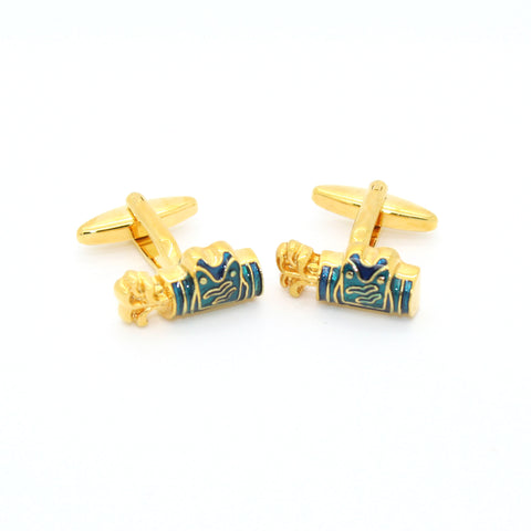 Goldtone Blue Wave Cuff Links With Jewelry Box
