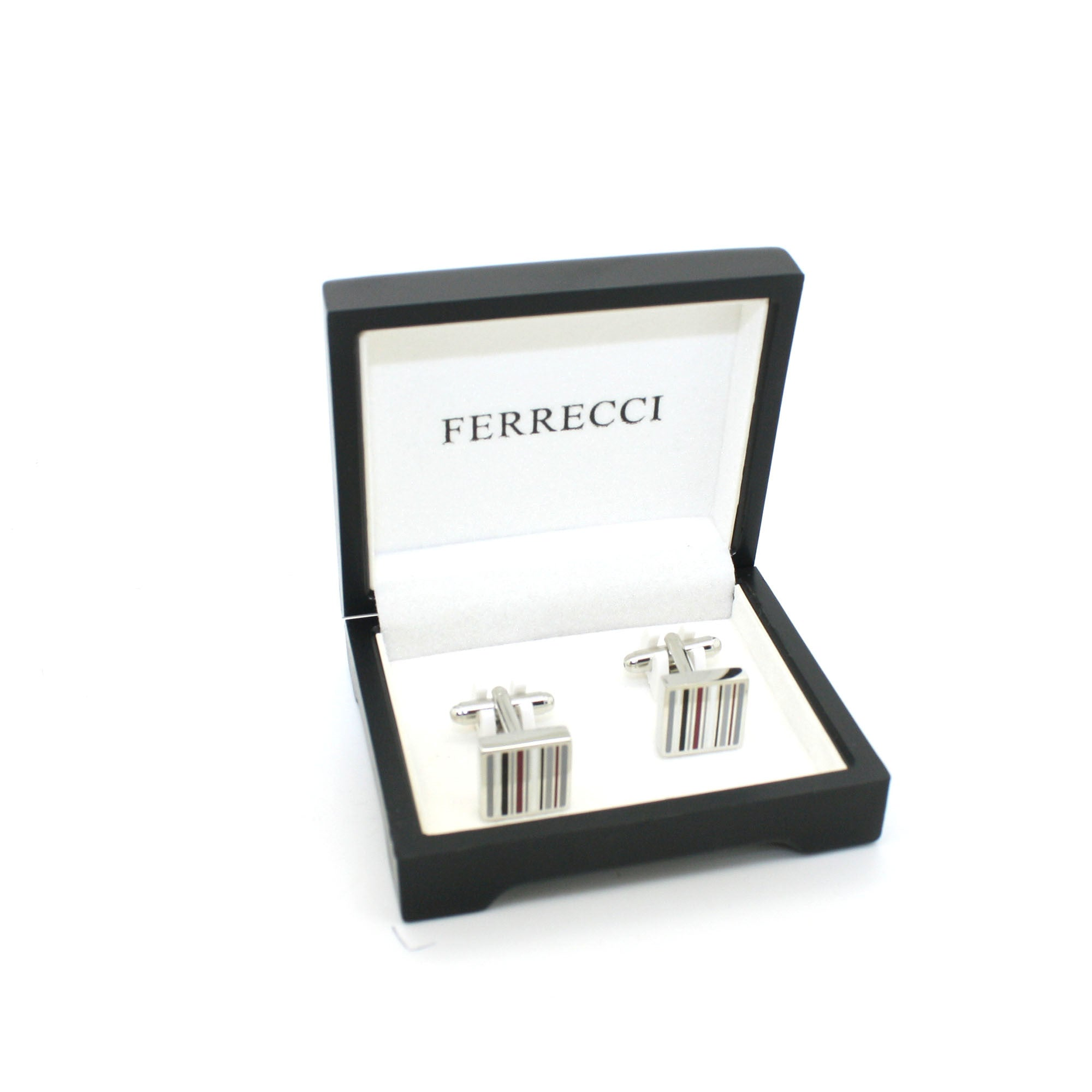 Silvertone Stripe Cuff Links With Jewelry Box