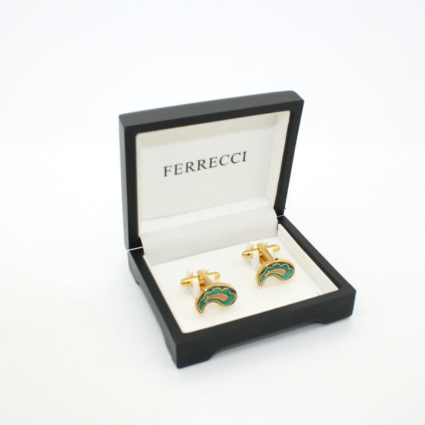 Goldtone Paisley Design Cuff Links With Jewelry Box