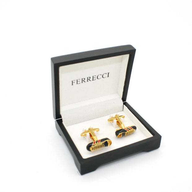 Goldtone Shoe Cuff Links With Jewelry Box
