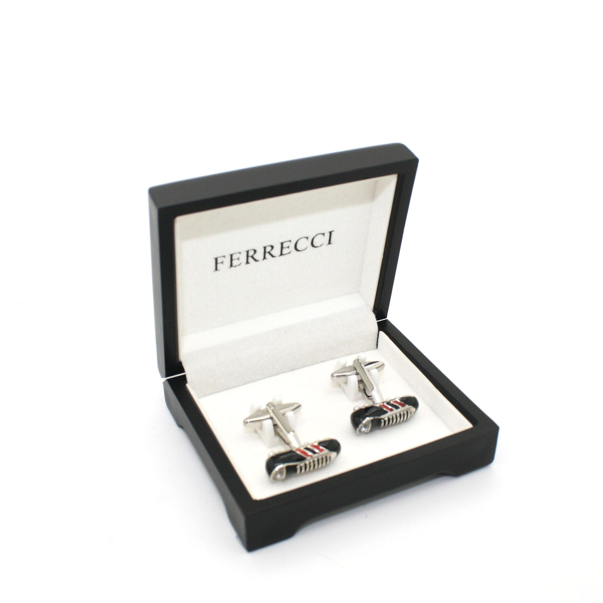 Silvertone Shoe Cuff Links With Jewelry Box