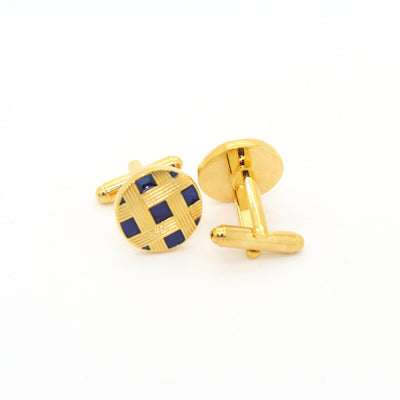 Goldtone Blue Criss Cross Metal Cuff Links With Jewelry Box