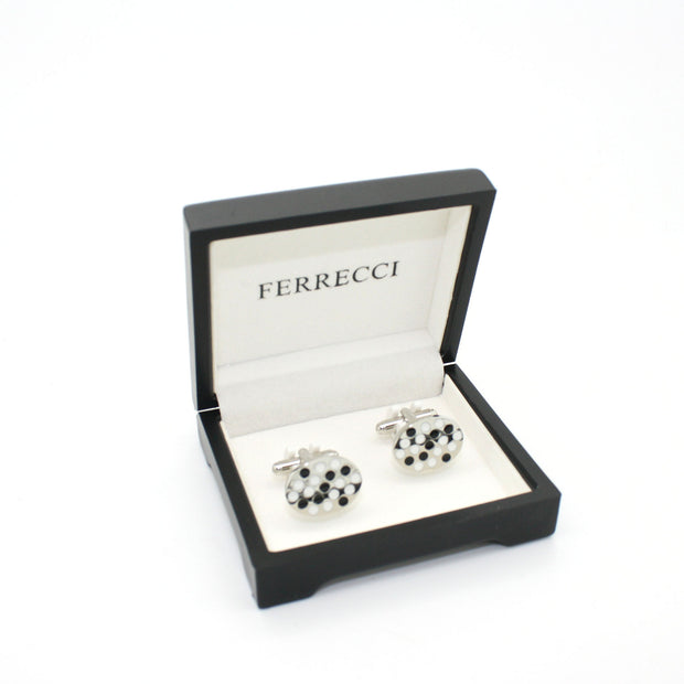 Silvertone Black White Oval Cuff Links With Jewelry Box