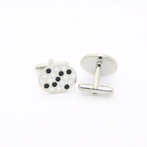 Silvertone Black White Oval Cuff Links With Jewelry Box - Ferrecci USA