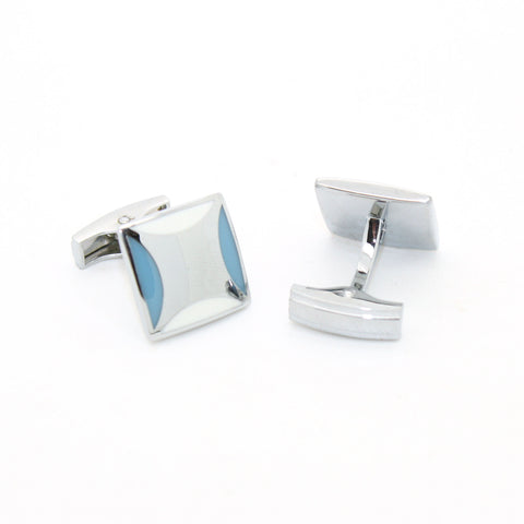 Silvertone Sky Blue Cuff Links With Jewelry Box