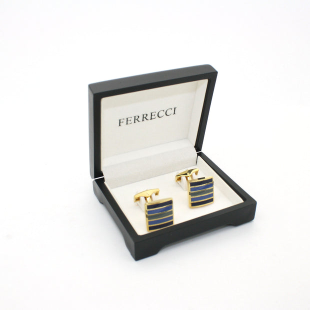 Goldtone Blue Stripe Cuff Links With Jewelry Box - Ferrecci USA