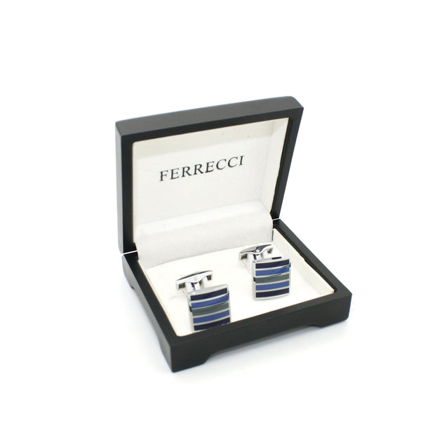 Silvertone Blue Stripe Cuff Links With Jewelry Box