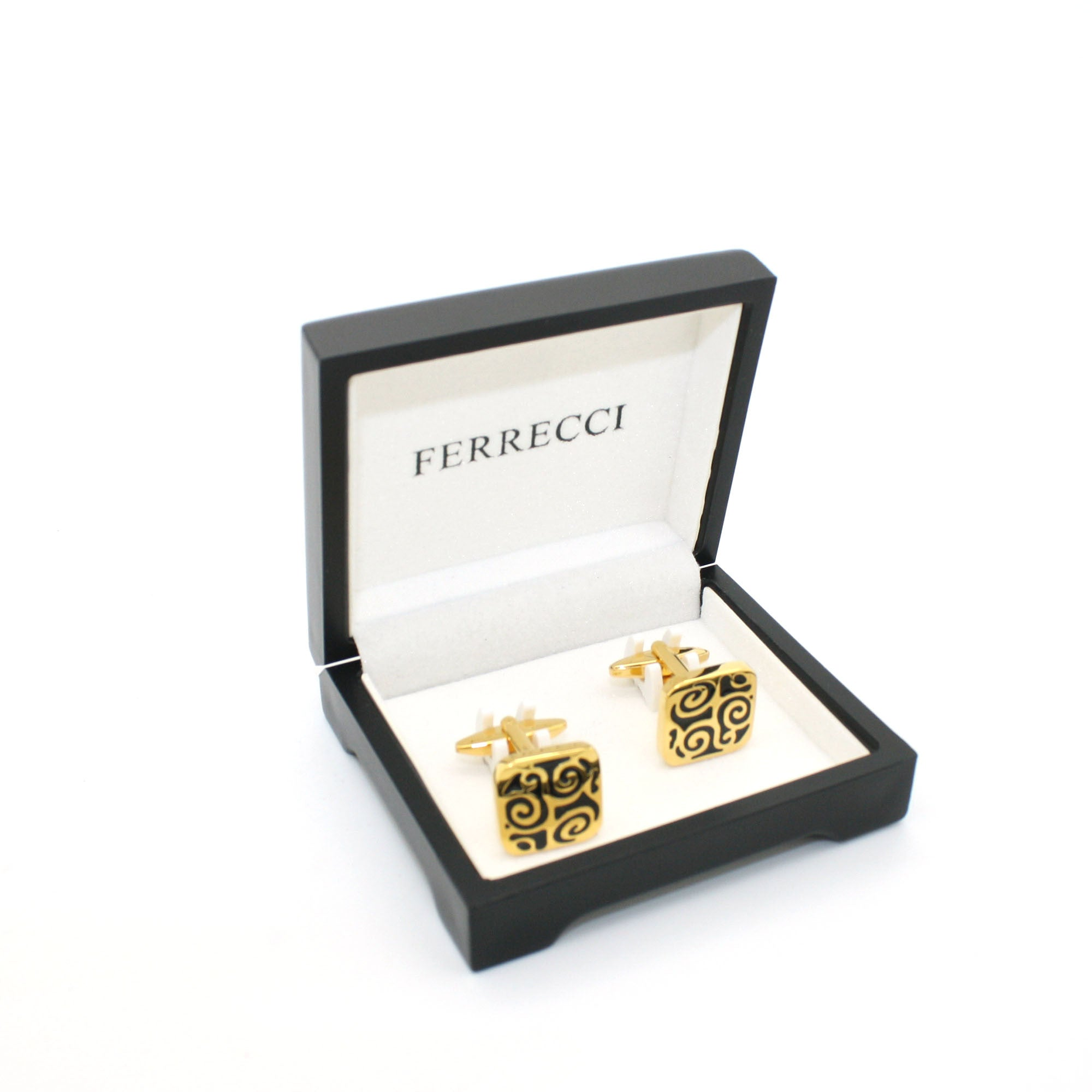 Goldtone Black Design Cuff Links With Jewelry Box