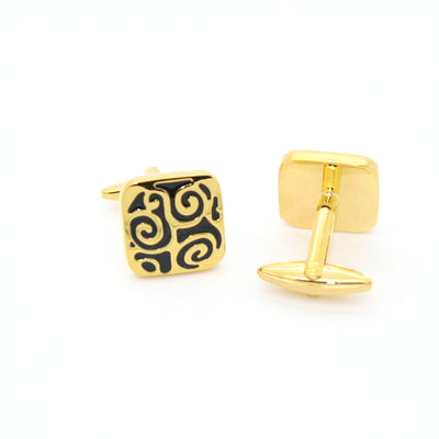 Goldtone Black Design Cuff Links With Jewelry Box - Ferrecci USA