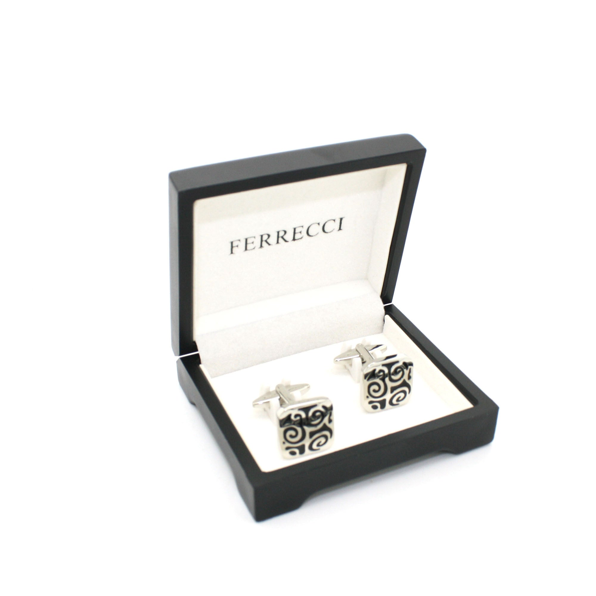 Silvertone Black Design Cuff Links With Jewelry Box