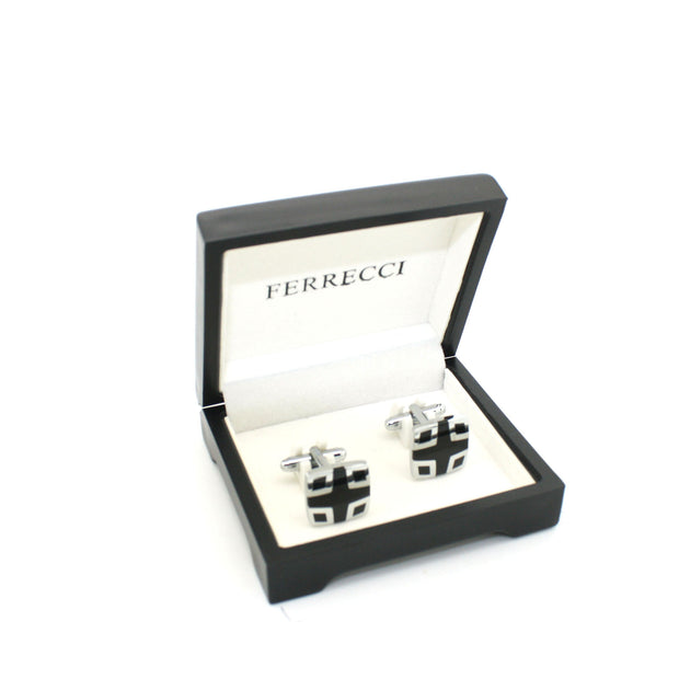 Silvertone Black Cuff Links With Jewelry Box - Ferrecci USA