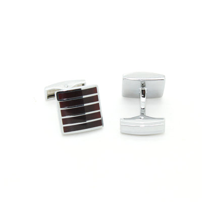 Silvertone Burgundy Stripe Cuff Links With Jewelry Box - Ferrecci USA